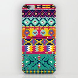 Seamless colorful aztec pattern with birds iPhone Skin