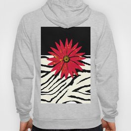 Animal Print Zebra Black and White and Red flower Medallion Hoody