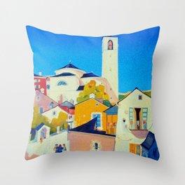 Ticino Switzerland - Vintage French Travel Ad Throw Pillow
