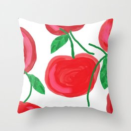 Cherries, The Cherry on top, big red round juiciness Throw Pillow