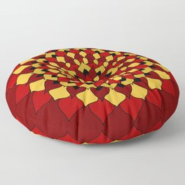 Red & Gold Floral Mandala Floor Pillow