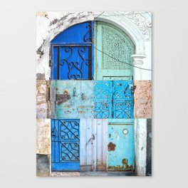 Blue Door Puzzle Canvas Print