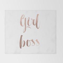 Girl boss - rose gold Throw Blanket