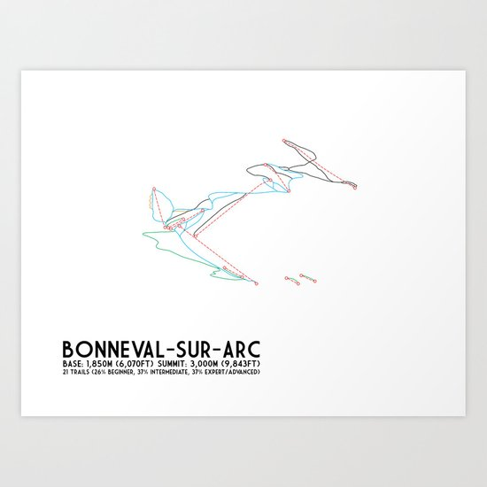 Bonneval Sur Arc, Savoie, FRA - North American Edition - Minimalist Trail Art Art Print
