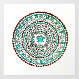 Cafe Expresso Teal, Brown, and White Mandala Art Print