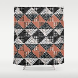 Multicolored black and brown patchwork . Shower Curtain