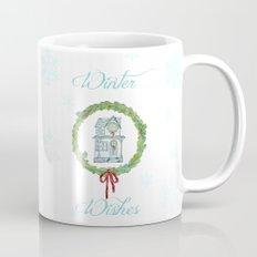 Winter wishes house and boxwood holiday wreath Mug