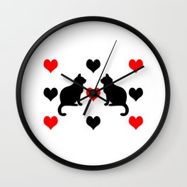 Cute cats and hearts Wall Clock