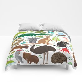 Animals Australia: Echidna Platypus ostrich Emu Tasmanian devil Cockatoo parrot Wombat snake turtle Comforters