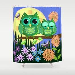Cute Owls in Fantasy Summer Land Shower Curtain