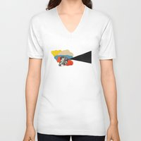 cinema V-neck T-shirts featuring Cinema by Francisca Pageo