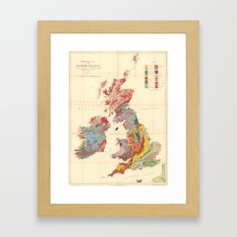 Vintage Geological Map of The British Isles (1912) Framed Art Print