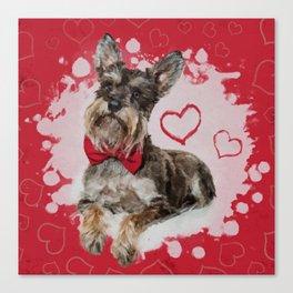 Cute Schnauzer on Hearts Pattern Canvas Print