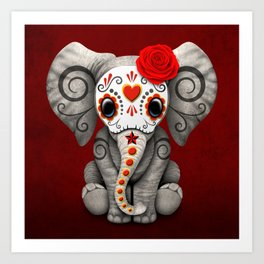 Deep Red Day of the Dead Sugar Skull Baby Elephant Art Print