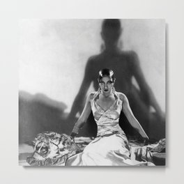 Fierce Josephine Baker Folies Bergère, Paris African American black & white photograph on Tiger Rug Metal Print