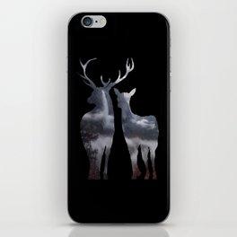 Forest deer family black pattern iPhone Skin