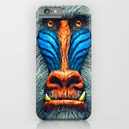 Mandrill Face Painting iPhone Case