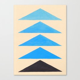 Baby Blue Geometric Triangle Pattern With Black Accent Canvas Print