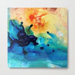 Modern Colorful Abstract Art - Blue Waters - Sharon Cummings Metal Print