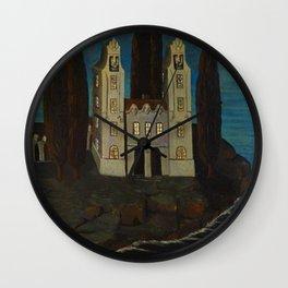 'La baie de la mer' - House on the Lake landscape painting by Bolesław Biegas Wall Clock