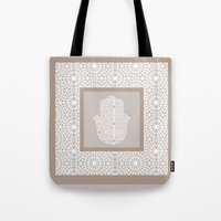 islam Tote Bags featuring Hamsa in morrocan pattern by Heaven7