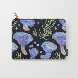 Indigo Milk Cap Mushrooms and Juniper - Dark Carry-All Pouch