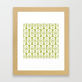 Mid Century Modern Atomic Fusion Pattern Chartreuse Framed Art Print