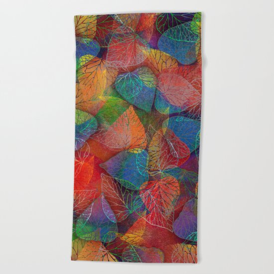 Multicolor Leaves Beach Towel