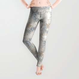 Owls, fashionable, modern, abstract, white, gray, blue, muted , pastel, beige, brown, Leggings