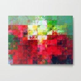 Mixed color Poinsettias 3 Abstract Circles 2 Metal Print