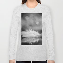 White Feather In Black And White Bokeh Background #decor #society6 #buyart Long Sleeve T-shirt
