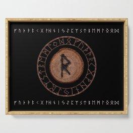 Raidho Elder Futhark Rune Travel, journey, vacation, relocation, evolution, change of place Serving Tray