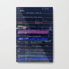 Library Card 3503 Exploring the Moon Negative Metal Print