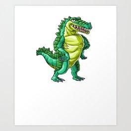 Crocodile Grandpa Alligator Reptile Animal Art Print