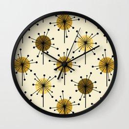 Atomic Era Sputnik Starburst Flowers Light Yellow Wall Clock