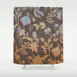 Chateau Brown Chinoiserie Decorative Floral Motif Chintz Shower Curtain