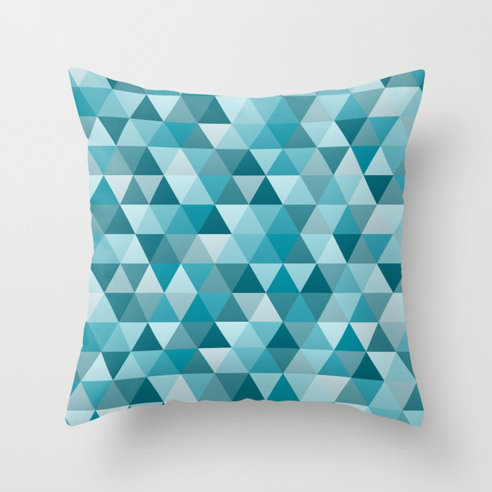 Blue Geometric Throw Pillows : Geometric in Peacock Blue Throw Pillow by designerham Society6