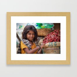 Girl with Chilies Framed Art Print