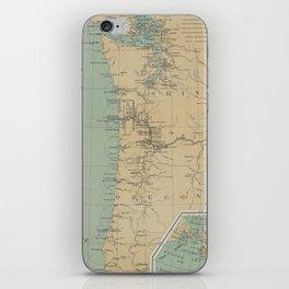 Vintage Washington & Oregon Lighthouse Map (1898) iPhone Skin