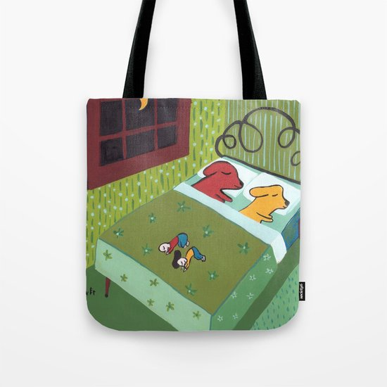 Night Time with Dogs Tote Bag