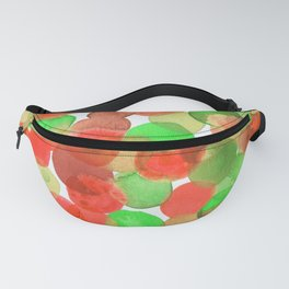 Watercolor Circles - Red and Green Fanny Pack