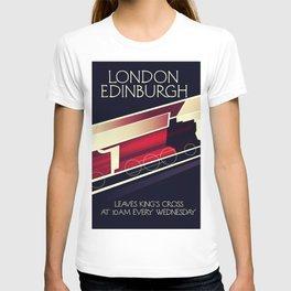 London Edinburgh Locomotive vintage style poster T-shirt