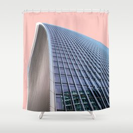 London Architecture in Pink Shower Curtain