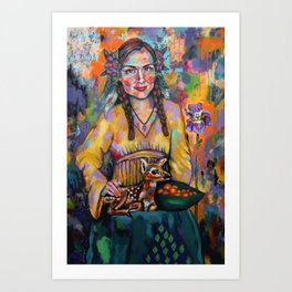 Girl with Fawn Art Print