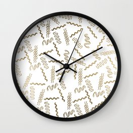 Geometrical white faux gold abstract retro 80's pattern Wall Clock