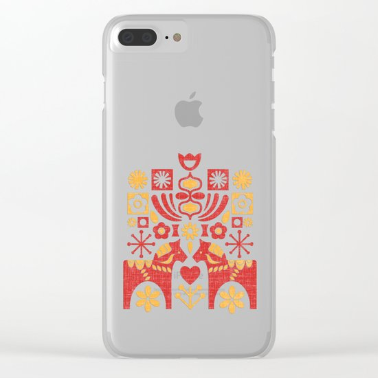 Swedish Folk Art_Mid-Century Modern Clear iPhone Case