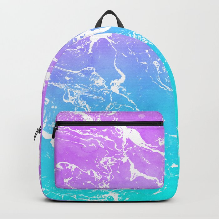 Modern summer purple blue ombre watercolor mermaid white marble Backpack