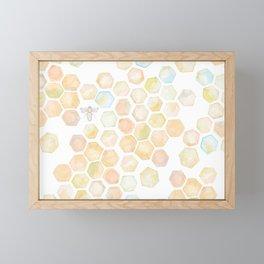 Bee and honeycomb watercolor Framed Mini Art Print