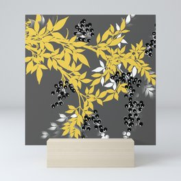 TREE BRANCHES YELLOW GRAY  AND BLACK LEAVES AND BERRIES Mini Art Print