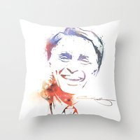 carl sagan Throw Pillows featuring Splatter Sagan by KellyBK